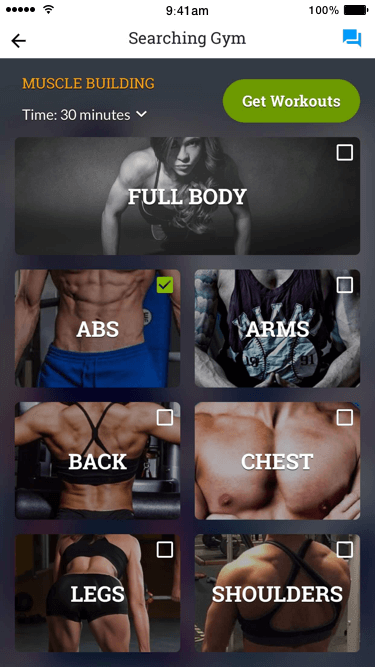 Multi-select Muscle Groups